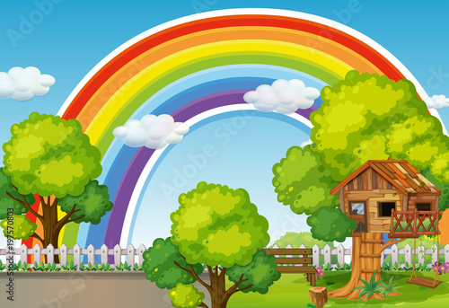 Fotobehang Kids Background scene with rainbow and treehouse
