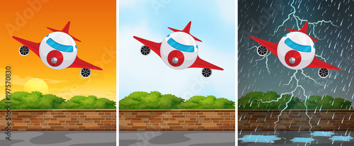 Fotobehang Kids Three backgrounds with airplane flying