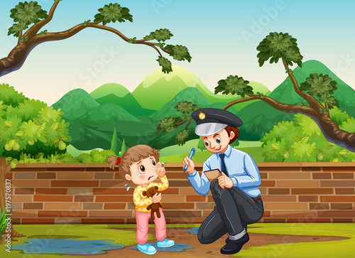 Fotobehang Kids Crying girl and policeman in the park