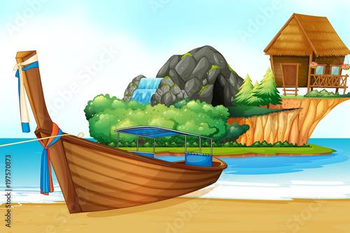 Foto op Plexiglas Lichtblauw Background scene with wooden boat on the shore