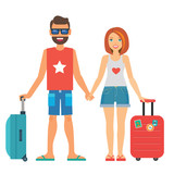 young couple tourists with suitcases - 197571851