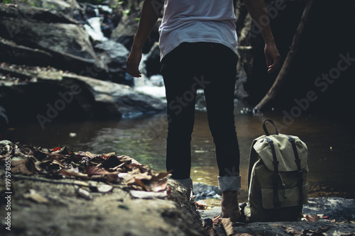 Walk in the forest Natural waterfall - 197578053
