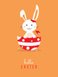 Hello easter with white Easter rabbit.
