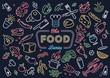 Neon food vector art illustration