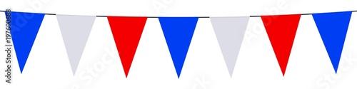 Bannière. Guirlande, fanions, bleu, blanc, rouge - 197600688