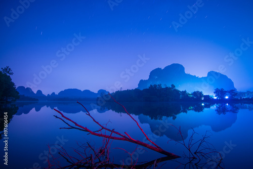 Foto op Aluminium Donkerblauw Beautiful landscape view at Baan Nong Thale during summer in Krabi, Thailand.