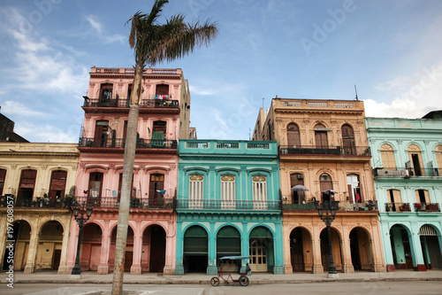 Colorful buildings and historic colonial archtiecture on Paseo del Prado, downtown Havana, Cuba.