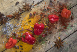 Hot chili peppers on a rustic farmhouse table poster