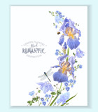 Blue flower wave border