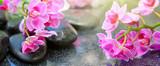 Czarne kamienie spa i różowe kwiaty orchidei.