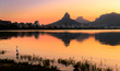Quadro Beautiful View of Rio de Janeiro Sunset Behind Mountains at Rodrigo de Freitas Lake.