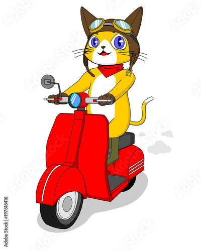yellow cat character riding red scooter - 197616416