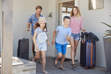 Family With Luggage Leaving House For Vacation - 197628235