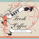 Coffee vector poster with flourish and ribbon in retro style