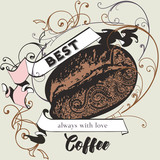 Coffee vector poster with flourish, coffee grain and ribbon in retro style