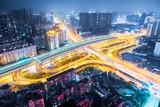 wuhan city interchange at night