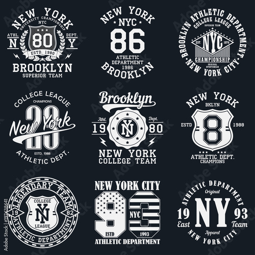 d94e366e New York, Brooklyn typography. Set of athletic print for t-shirt design.