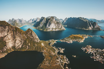Norway Landscape Reinebringen mountain aerial view Lofoten islands Travel scenery scandinavian nature