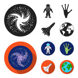 The alien hand, the space shuttle ship Space Shuttle, the astronaut in the spacesuit, the black hole with the stars. Space set collection icons in black,flat style vector symbol stock illustration web