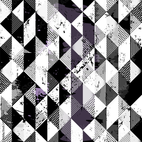 Aluminium Abstract met Penseelstreken abstract geometric background pattern, with squares, dots, paint strokes and splashes, black and white