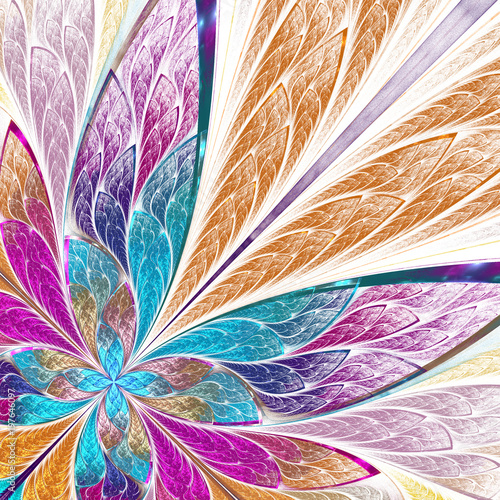 Fototapeta Beautiful fractal flower or butterfly in stained glass window style. You can use it for invitations, notebook covers, phone case, postcards, cards, wallpapers and so on.