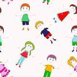 Kids seamless pattern. Hand draw seamless background with cheerful children.