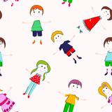 Kids seamless pattern. Hand draw seamless background with cheerful children.