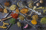 Spices on spoons - used to add flavor to cooking poster