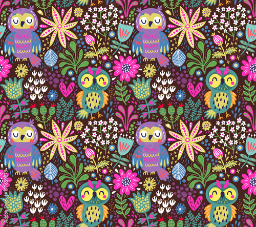 Cotton fabric Seamless pattern with owls