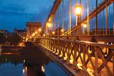 Chain bridge in Budapest at night, sidewalk