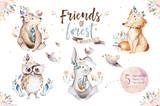 Cute watercolor bohemian baby cartoon rabbit and bear animal for kindergarten, woodland deer, fox and owl nursery isolated bunny forest illustration for children. Bunnies animals. - 197668094