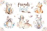 Cute watercolor bohemian baby cartoon rabbit and bear animal for kindergarten, woodland deer, fox and owl nursery isolated bunny forest illustration for children. Bunnies animals. - 197668248
