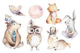 Cute watercolor bohemian baby cartoon rabbit and bear animal for kindergarten, woodland deer, fox and owl nursery isolated bunny forest illustration for children. Bunnies animals. - 197669070
