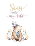 Cute bohemian baby bear animal for kindergarten, woodland nursery isolated decoration forest illustration for children forest animals pattern. Watercolor hand drawn boho set - 197669425