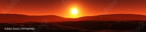 Aluminium Rood paars sunset over the hills, the sun over the silhouettes of the mountains 3D rendering