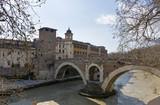 bridge over the Tiber river to Tiber island, Rome