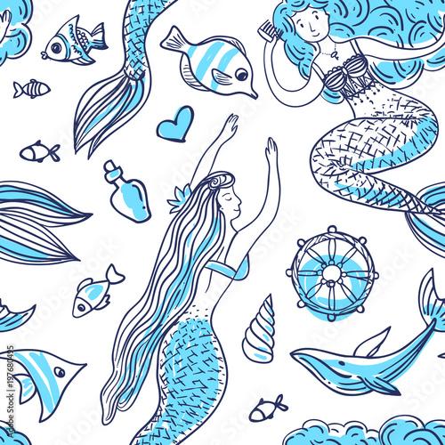 Cotton fabric Hand drawn vector illustration mermaid.