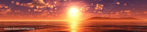 Foto op Plexiglas Bruin violet sunrise, panorama of the sea sunset 3D rendering