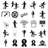 Set of black football icons on white background.