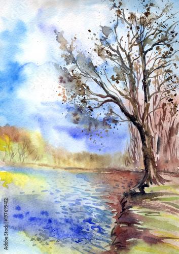 drzewo-na-brzeg-staw-akwarela-krajobraz