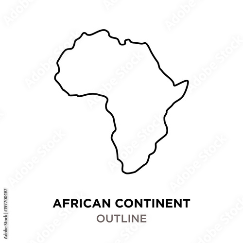 Fototapeta african continent outline on white background