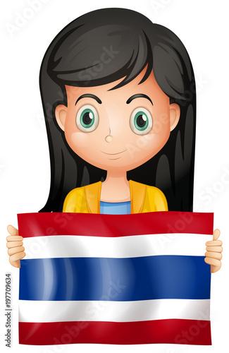 Fotobehang Kids Girl with flag of Thailand
