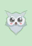 Vector template with cute owl for card, poster, flyer and other users. Design element.