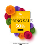 Spring sale banner template with paper rose flowers, vector illustration