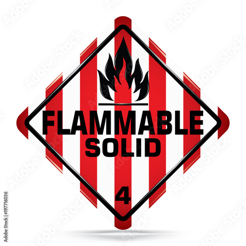 International Flammable Solid Class 4 Symbolwhite And Red Warning