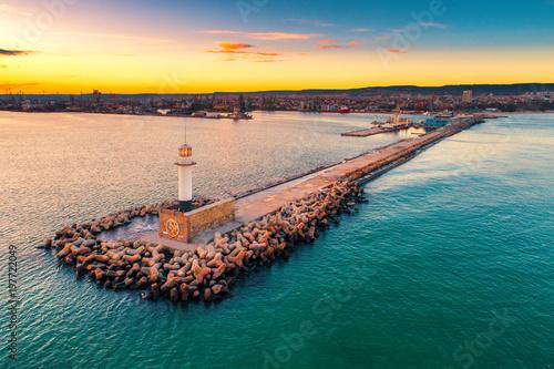 Fotobehang Meloen Aerial view of lighthouse at sunset in Varna, Bulgaria