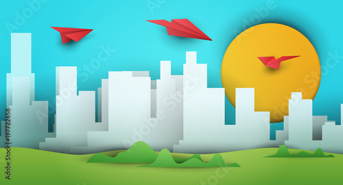 Keuken foto achterwand Turkoois 3d vector paper cut landscape with skyscrapers, airplane, sun. Cartoon art illustration in minimalistic craft carving style. Modern layout colorful concept for background cover, poster, card.
