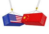 United States and China Cargo Container Isolated. Trade war Concept - 197723486