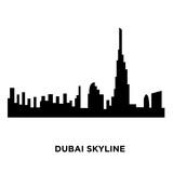 dubai skyline silhouette on white background, vector illustration