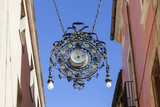 Artistic lantern, lighthouse, modernist style, Vilafranca del Penedes, Catalonia.Spain. - 197736419